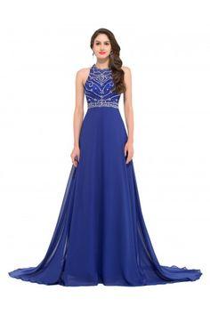 Grace Karin Sleeveless Hollowed Back Chiffon Ball Gown Evening Prom Party  Dress Ball Gowns Evening e0b5b74059d4