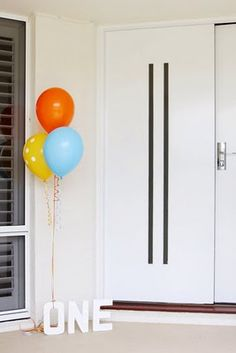 Cute door welcome for a party. Wonder where to get the right letters...