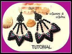 Tutorial Orecchini Peacock con Superduo/Twin Beads, Mezzi Cristalli, Perline Rocailles-DIY earrings - YouTube