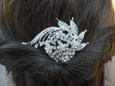 20% OFF - Jocelyn Collection, Art Deco Rhinestone With Pearl Hair Comb, Bridal Hair Comb, Vintage Style Hair Accessories, Wedding Hair Comb. $41.60, via Etsy.
