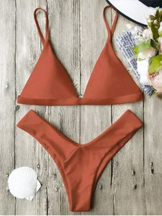Soft Pad Spaghetti Straps Thong Bikini Set - BURNT ORANGE S Mobile