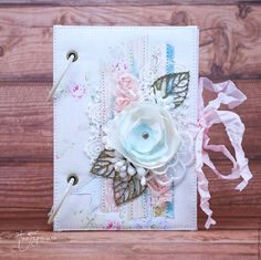 Купить Шебби блокнот - розовый, голубой, мятный, белый, блокнот ручной работы, блокнот