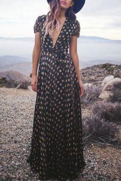 Stylish Women's Short Sleeve Plunging Neck Star Dress