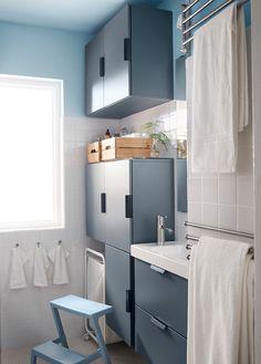 Bathroom Design Ikea Design A Small Bathroom With Big Storage Style Freestanding Bathroom Shelves, Ikea Bathroom, Small Bathroom, Office Bathroom, Ikea Small Spaces, Small Space Storage, Storage Spaces, Storage Ideas, Storage Design