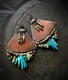 Tribal Southwest Turquoise Fringe Aged Copper Earrings