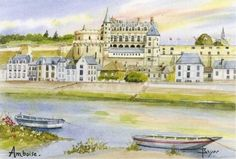 Château d'Amboise. Aquarelle de Beyer. Château d'Amboise : vestiges de la forteresse du XIVe siècle. Histoire de France. Patrimoine. Magazine