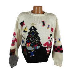Ugly Christmas Sweater Vintage 1980s Santa Holiday Tacky Xmas Party Mary Engelbreit  Marissa Christina Women's size M