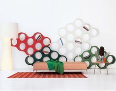 cloud bookcase  Design Ronan & Erwan Bouroullec, 2004  Rotational technology plastic, metal clips  Made in Italy by Cappellini