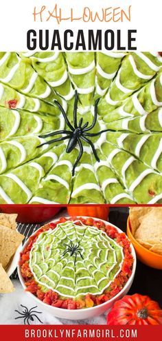 Easy to make Halloween Guacamole Dip with sour cream spiderwebs on top.  This homemade recipe uses fresh avocados and diced tomatoes for a healthy party dip! Mexican Appetizers, Halloween Appetizers, Mexican Food Recipes, Fresh Avocado, Mashed Avocado, Halloween 2020, Halloween Party, Healthy Mexican Casserole, Beef Quesadillas