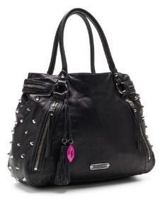 betsey johnson biker chic tote #bag #spiked #studded. got to have it.