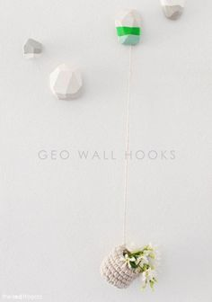 Creative: Eleven DIY Polymer Clay Projects  (Learn to do this >Easy to make Polymer Clay Geo Wall Hooks | The Red Thread)