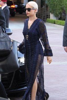 Nicole Richie wearing House of Harlow 1960 Poppy Dress and House of Harlow 1960 Noble Tribe Triple Horn Necklace