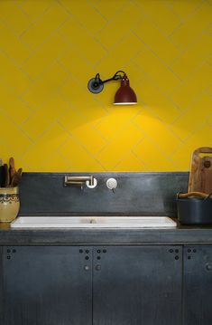 kitchen-walls herringbone tile wallpaper yellow