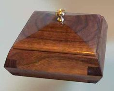 Boxes ~ Handcrafted Wood Boxes. Decorative handmade wooden gift box. Solid Walnut with angled sides & lid with brass knob.