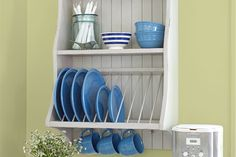 KITCHEN UPGRADE: If you're looking for a way to dramatically boost the charm and functionality of your kitchen, consider adding an open plate rack. It mounts to the wall, leaving counters uncluttered, and gets your dishes out in the open—easy to gra Laminate Countertops, Concrete Countertops, Kitchen Countertops, Granite, Cement Counter, Wooden Counter, Diy Kitchen, Kitchen Storage, Kitchen Decor