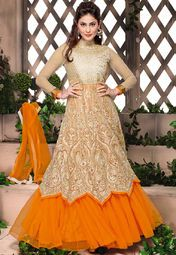 Admyrin Cream And Orange Gown-Style Heavy Embroidered Anarkali Online Shopping Store