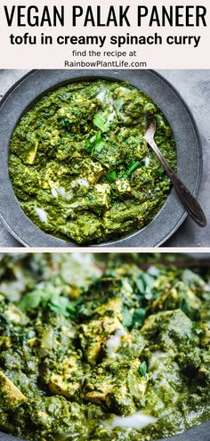 This Vegan Palak Paneer features tofu swimming in a smooth and creamy spinach sauce that's full of aromatic Indian spices. It tastes rich and indulgent but is healthy, vegan, dairy-free, and gluten-free. Paneer Recipes, Spinach Recipes, Tofu Recipes, Indian Food Recipes, Healthy Dinner Recipes, Vegetarian Recipes, Palak Paneer, Creamy Spinach Sauce, Vegetarian