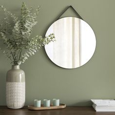 Black Round Wall Mirror on Maisons du Monde. Take your pick from our furniture and accessories and be inspired! Sage Green Bedroom, Sage Green Walls, Living Room Green, Green Rooms, Living Room Decor, Bedroom Decor, Green Sage, Green Wall Decor, Green Home Decor