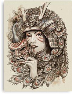 Medusa Tattoo On Full Sleeve Geisha Tattoo For Men, Geisha Tattoo Sleeve, Geisha Tattoo Design, Sleeve Tattoos, Japanese Tattoo Designs, Japanese Tattoo Art, Female Samurai Tattoo, Sketchy Tattoo, Demon Tattoo
