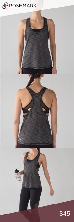 Lululemon Tank and bra top Brand new with tags authentic Lululemon Tank and bra top. Gorgeous heathered grey material. This style is a lightweight loose fitting top with the  black sports bra top attached at the shoulder seams.  The sweat-wicking, four-way stretch Seriously Light™ Luon fabric makes moving a breeze seriously lightweight sweat-wicking four-way stretch cottony-soft lululemon athletica Tops Tank Tops