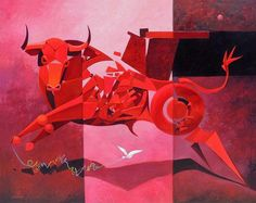 RAFAEL SANCHEZ DE ICAZA Glow Table, Charging Bull, Simply Red, Cattle, Deco, Watercolor, Projects, Painting, Inspiration