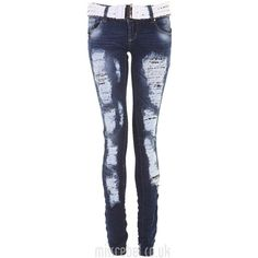 Allover Rip White Belt Skinny Jean ($32) ❤ liked on Polyvore