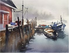 """Thanks to Lyn Donovan and Coastal Maine Art Workshops for hosting such a great group for me here! An amazing collection of artists and what a beautiful place! Thank you all. """"Foggy Coast - Maine"""" Thomas W Schaller - Watercolor.  Google+"""
