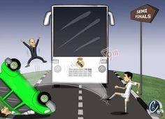 Zinedine Zidane uradowany • Autobus Realu Madryt wjechał do półfinału Ligi Mistrzów • Cristiano Ronaldo usunął samochód VFL • Zobacz >> #football #soccer #sports #pilkanozna