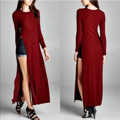 "XX The AFTON side slit dress - BURGUNDY Semi-loose fit, long sleeves, round neck, maxi length ""dress"". Has side slits up to waist. This dress is made with medium weight, ribbed knit fabric that has great drape, is soft and has great stretch. Fabric 95% Rayon, 5% Polyester Made in U.S.A. AVAILABLE IN BLACK & BURGUNDY Tops Tees - Long Sleeve"