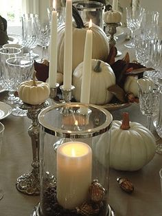 white, silver and taupe tablescape for autumn...