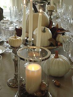 white tablescape for autumn...