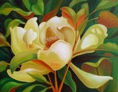 """""""Midday Magnolia"""" by Lynn Lindley Oil"""
