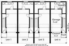Quadplex plans narrow lot house plans row house plans f 4 plex plans narrow lot