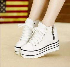 2016 Fashion Womens High Heeled Platform Shoers Canvas Shoes Elevators White Black High Top Casual Woman Shoes with Zipper