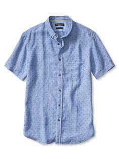 Camden-Fit Geo Linen Short-Sleeve Shirt