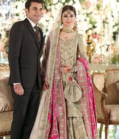 One of our favourite bridal looks this winter Dull gold and pinkon Pakistani Bridal Couture, Pakistani Bridal Makeup, Pakistani Wedding Outfits, Bridal Outfits, Pakistani Suits, Pakistan Bride, Pakistan Wedding, Nikkah Dress, Shadi Dresses