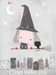 pop-i-cok Halloween Illustration, Illustration Girl, Doodle Drawings, Cute Drawings, Diy Wall Painting, Christmas Characters, House Drawing, Baby Cartoon, Art Projects