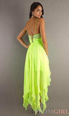 f387ab1a8f Short High-low Cocktail Party Dress Lime Yellow Chiffon Evening Pageant  Dresses