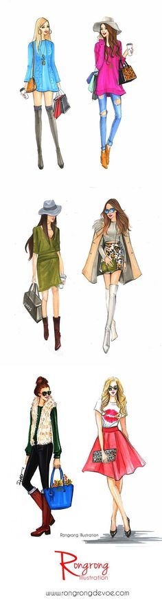 Street fashion styles illustrations by Houston fashion illustrator Rongrogn DeVoe. more at www.rongrongillus…