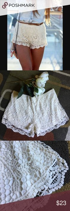 "Mossimo crochet style shorts NWOT material is shell 100% cotton lining 64% polyester 36% rayon stretch waist  lying flat waist measures 17"" inseam is approx 2.5""  ivory color Mossimo Supply Co Shorts"