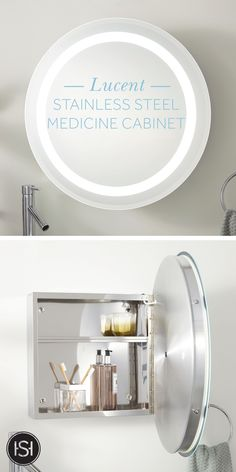 For your mid-century modern bathroom update, the Lucent Medicine Cabinet is the perfect storage solution. Featuring a halo design illuminated by LED lighting, this product will bring functional style to your bathroom. Click to shop the look.