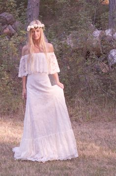 "Vintage Style Wedding Dress Off The Shoulder Lace Ivory 70s - ""Winnie"". $980.00, via Etsy."