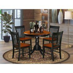 Kitchen Dinette Sets, Small Kitchen Tables, Kitchen Chairs, Dining Chairs, Small Dining, Round Kitchen, Wood Chairs, Black Round Dining Table, Solid Wood Dining Set