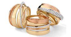 Anéis de ouro amarelo, rosa e branco com diamantes