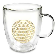 Doppelwandiges Teeglas mit Blume des Lebens Energiesymbol - Blume des Lebens - Cleopatra's Duft-Oase