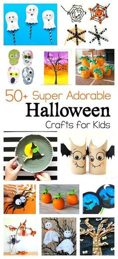 50+ Super Cool Halloween Crafts for Kids: Including witch crafts, spider crafts, ghost crafts, pumpkin crafts, DIY treat bags and more! All kinds of Halloween art projects and activities for October- perfect for preschool, kindergarten, first grade and on up. Great for a classroom Halloween party!
