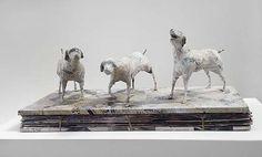 Marguerite Derricourt  Newshounds (detail) 2013  plaster, wire, newspaper 23 x 70 x 27cm