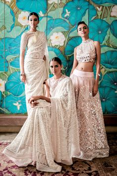 Abu Jani Sandeep Khosla Collection Embellished White Sarees and Light Pink Mirror Work Lehenga. India Fashion, Ethnic Fashion, Asian Fashion, Indian Attire, Indian Ethnic Wear, Indian Dresses, Indian Outfits, Mode Indie, Designer Bridal Lehenga