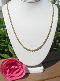 """24k YELLOW GOLD over STERLING SILVER Classic 24"""" ROPE CHAIN GENUINE ITALY 925 #AuthenticItalianCraftsmanship #Chain"""