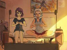 Ahsoka and Barriss gaming time by Raikoh-illust.deviantart.com on @deviantART